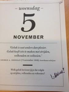 Kalender 5 november dag 3 Helweek lifeisajourney
